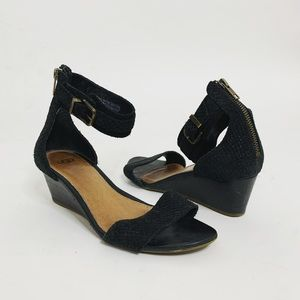 UGG Black Leather Char Mar Wedge Sandals